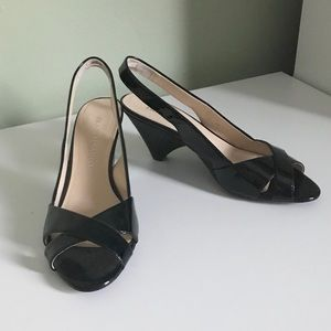 Franco Sarto Black Patent Leather Slingback Heels